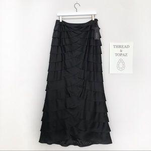 Victor Costa Black Tiered Satin Formal Maxi Skirt